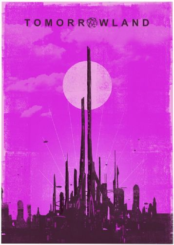 2010's Movie - TOMORROWLAND MINIMAL PINK canvas print - self adhesive poster - photo print